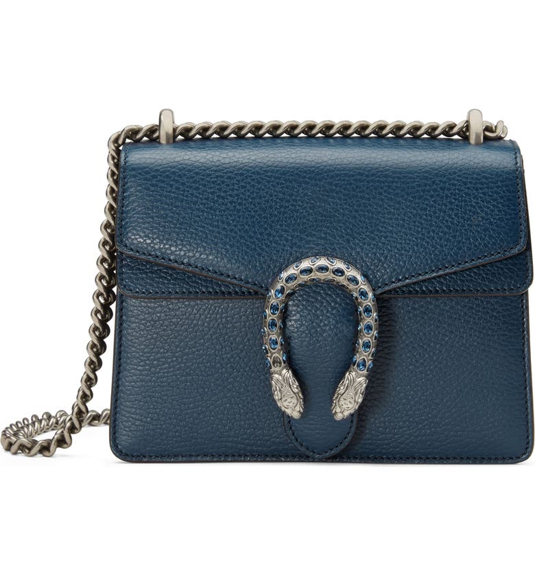 GUCCI Mini Dionysus Leather Shoulder Bag, Main, color, BLU AGATA/ MONTANA