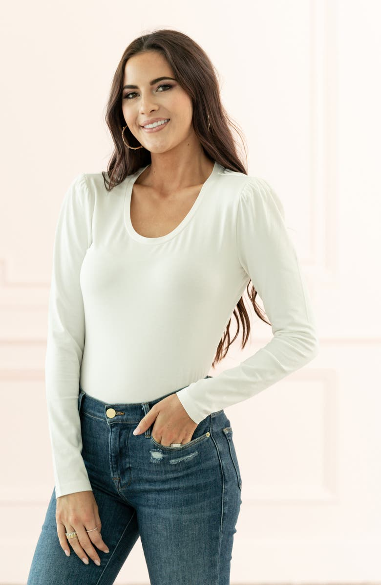 RACHEL PARCELL Slim Fit Pretty Sleeve Stretch Cotton Top, Main, color, IVORY CLOUD