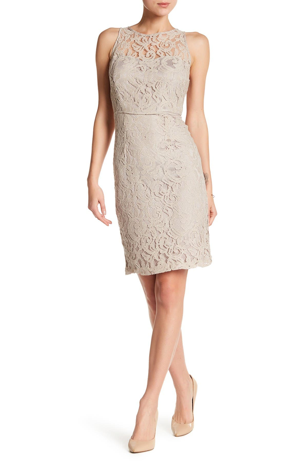 Image of Marina Sleeveless Lace Sheath Dress