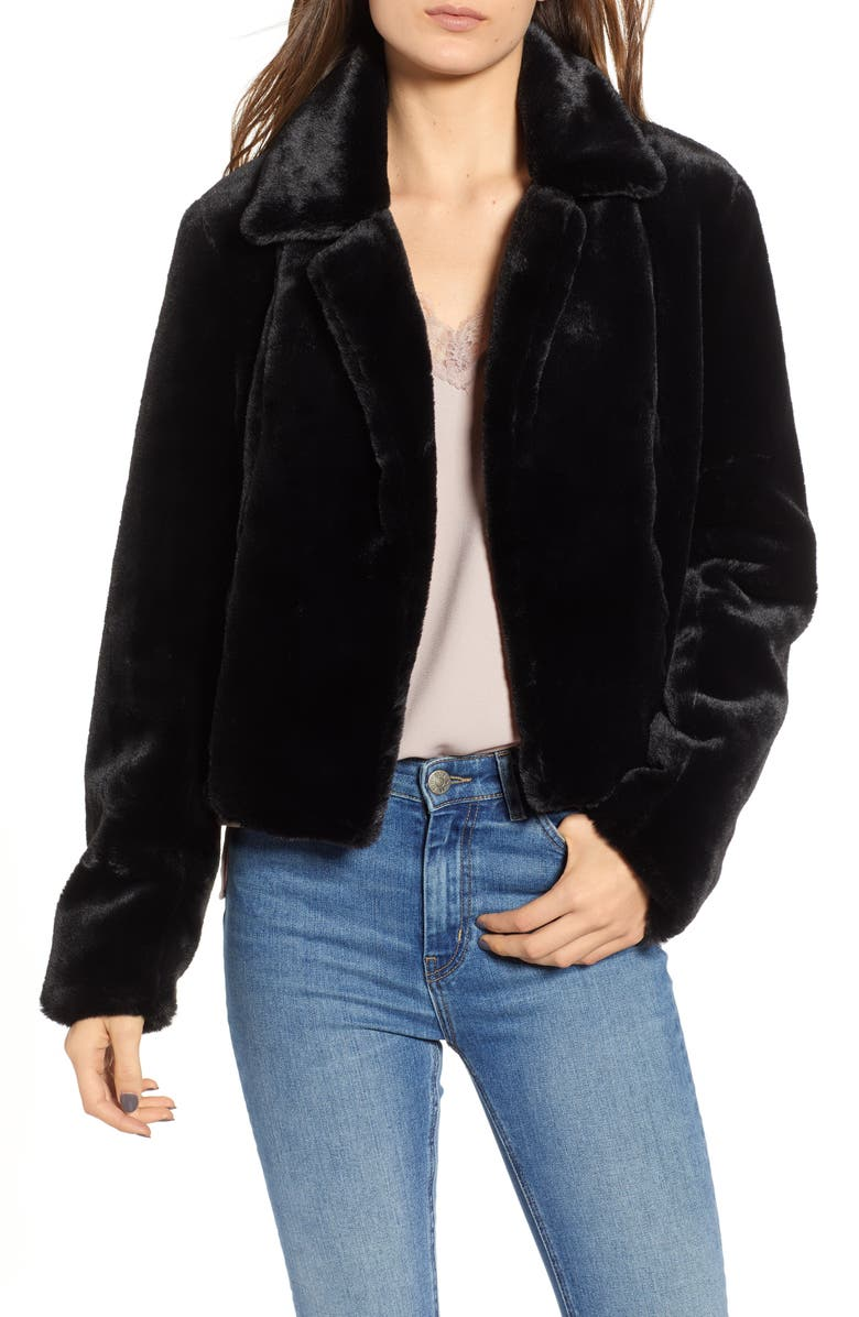 BLANKNYC Crop Faux Fur Jacket, Main, color, 001