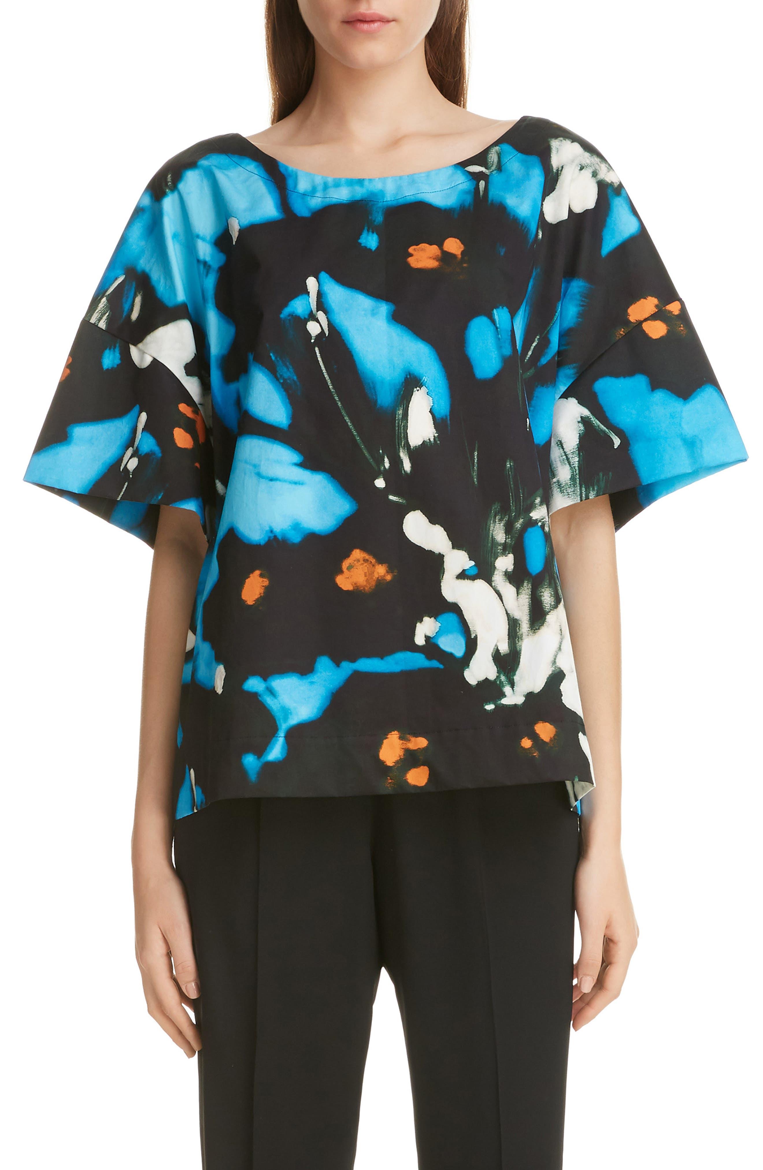 Cobala Floral Print Cotton Top, Main, color, BLUE