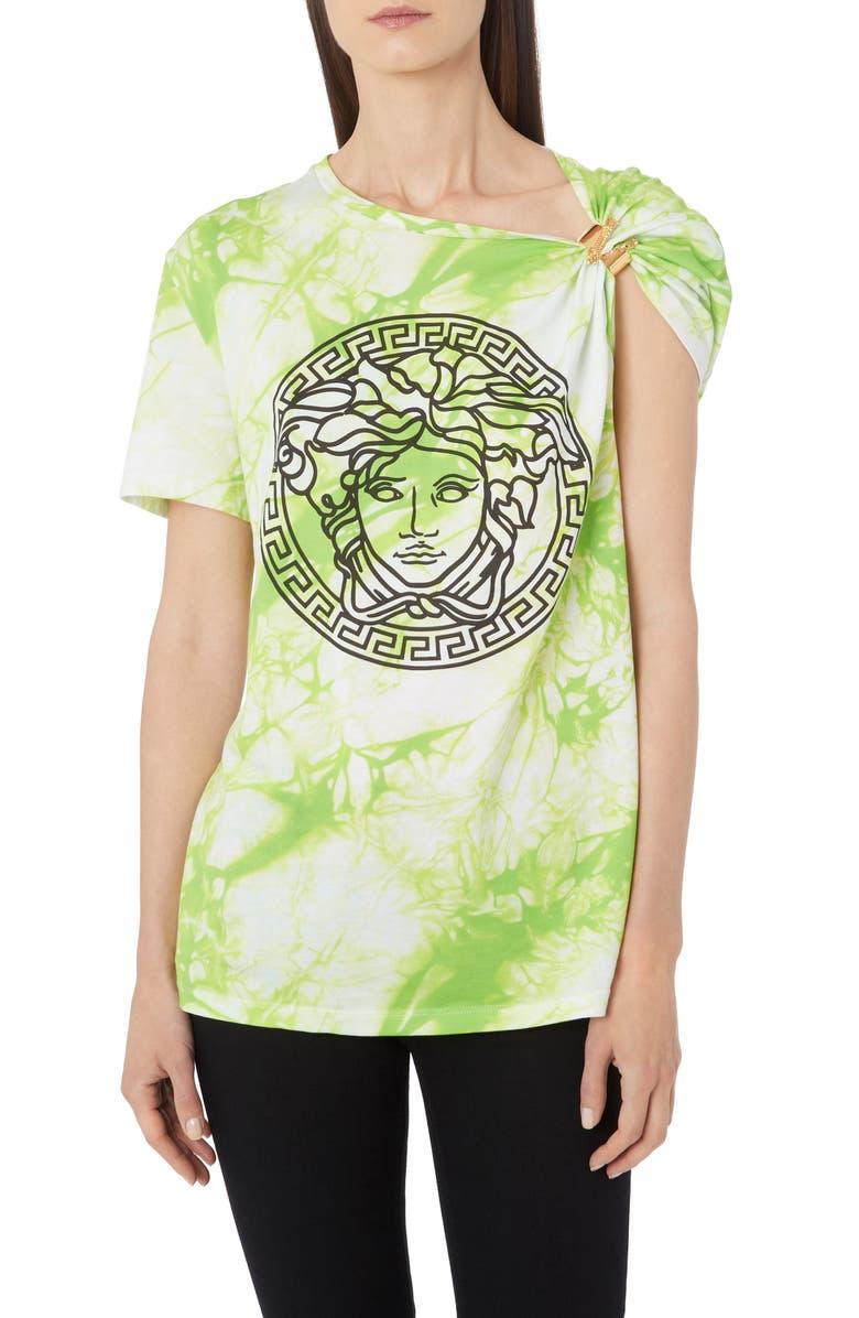 VERSACE Clip Shoulder Tie Dye Medusa Tee, Main, color, LIME PRINT
