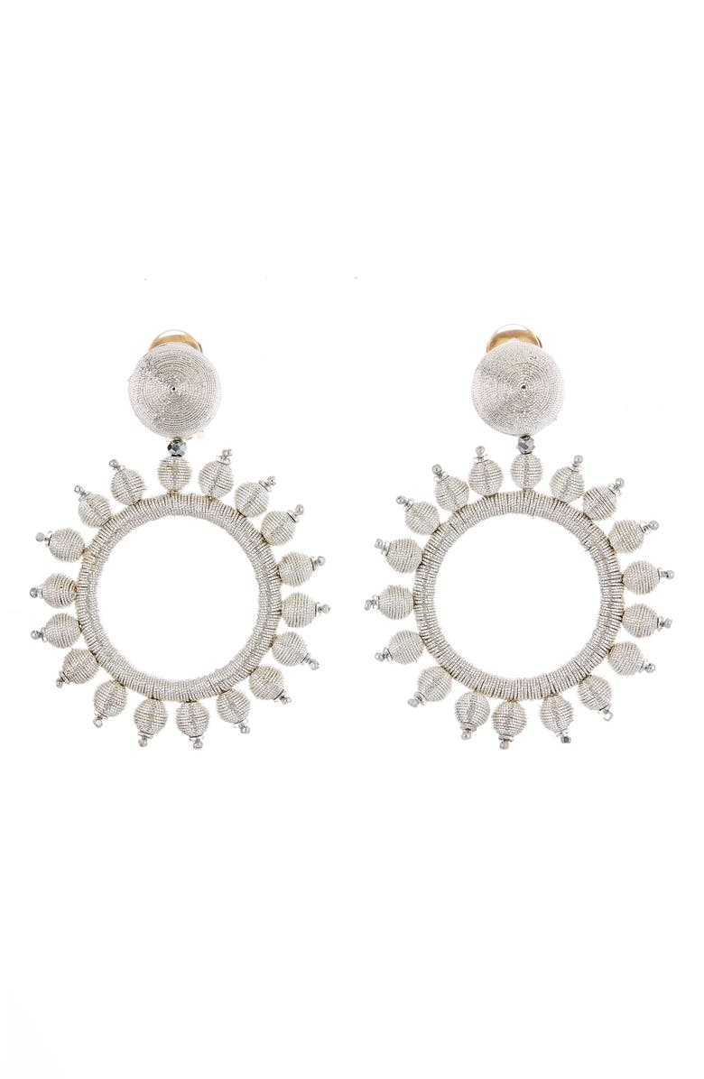 OSCAR DE LA RENTA Circle Drop Earrings, Main, color, SILVER