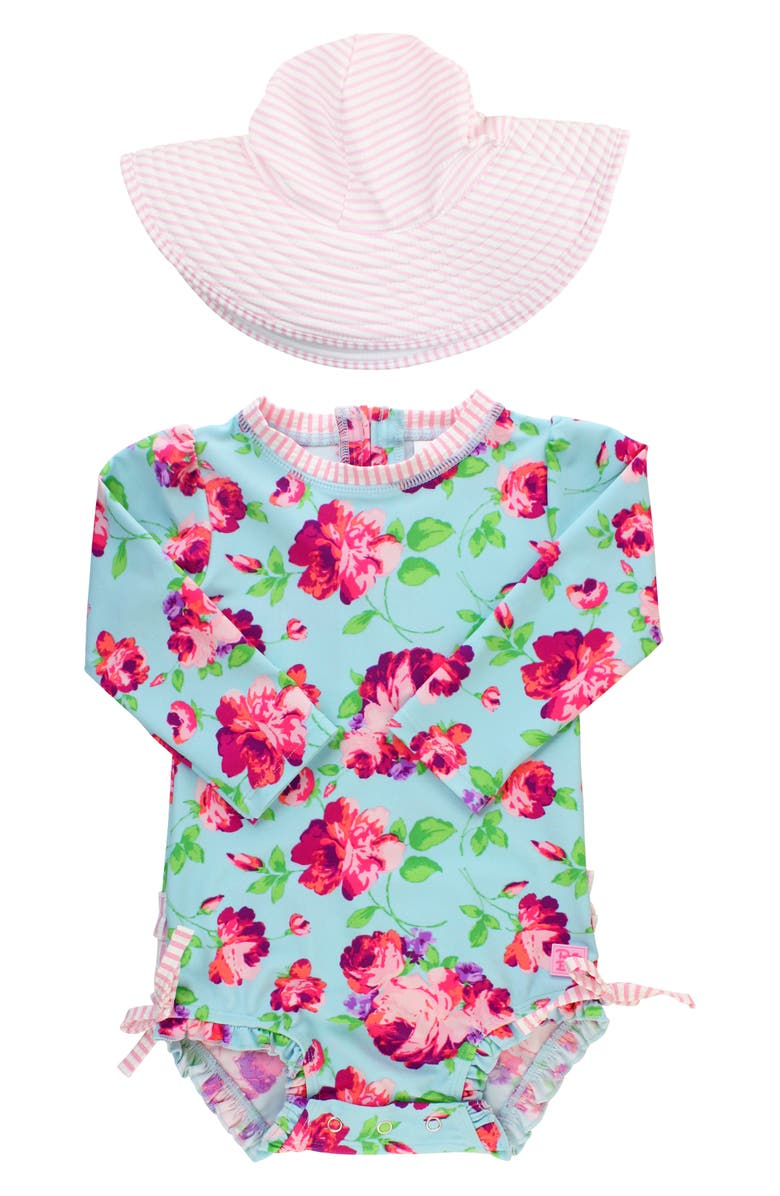 RUFFLEBUTTS Life is Rosy One-Piece Rashguard Swimsuit & Hat Set, Main, color, 650