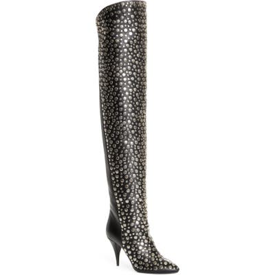 Saint Laurent Kiki Studded Over The Knee Boot - Black