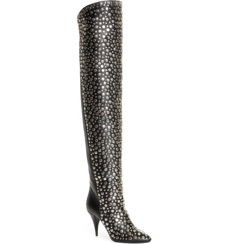 SAINT LAURENT Kiki Studded Over the Knee Boot, Main, color, BLACK/ SILVER