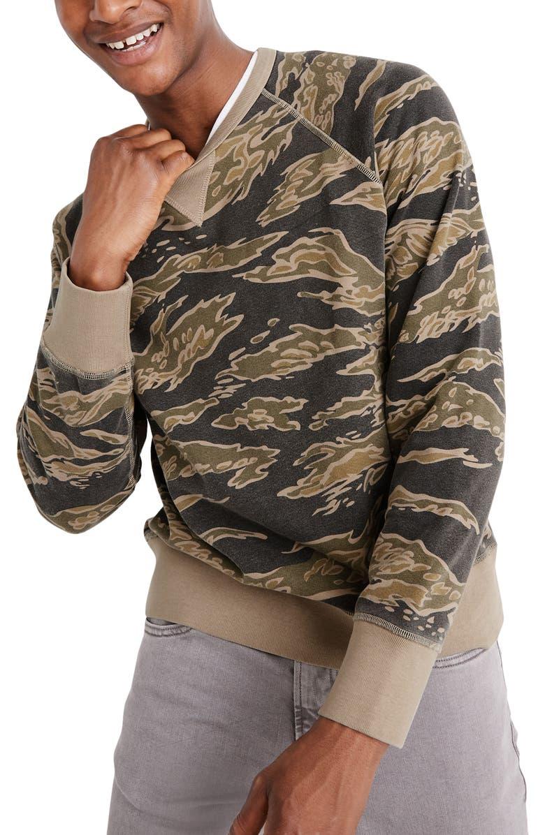 MADEWELL Camo Crewneck Sweatshirt, Main, color, TIGER CAMO BLACK COAL