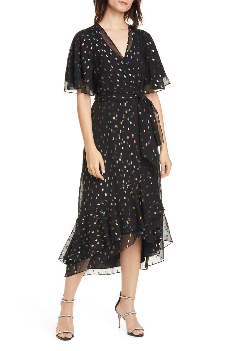 DVF Berdina Fil Coupé High/Low Wrap Dress, Main, color, BLACK MULTI