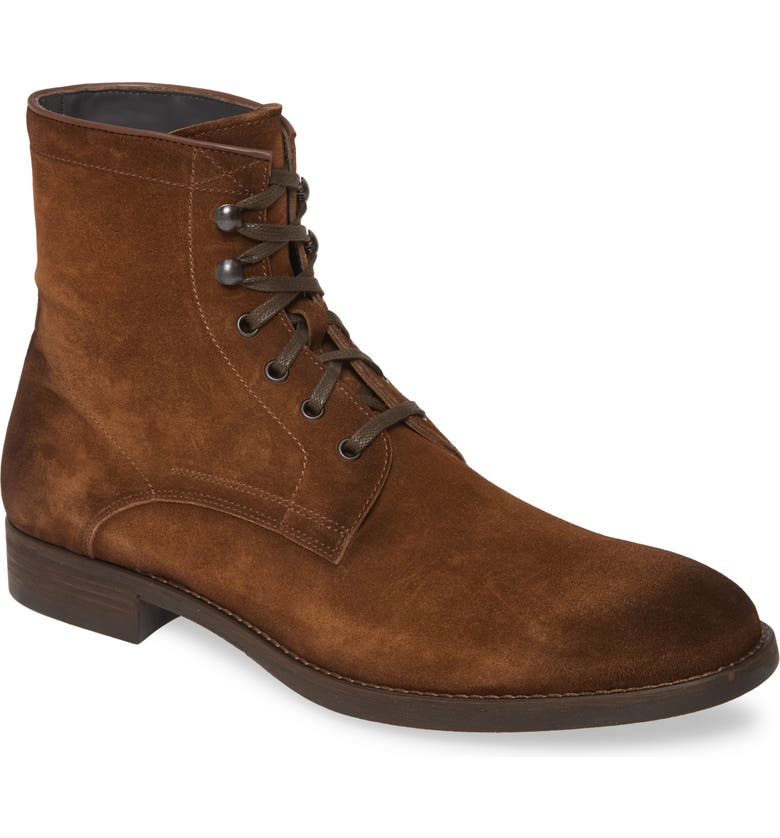 TO BOOT NEW YORK Ditmas Lace-Up Boot, Main, color, MEDIUM BROWN SUEDE