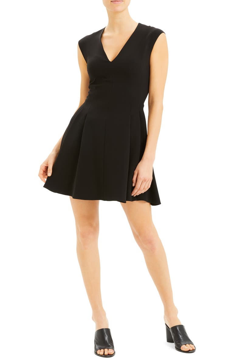 THEORY Pleated Cap Sleeve Flare Dress, Main, color, BLACK