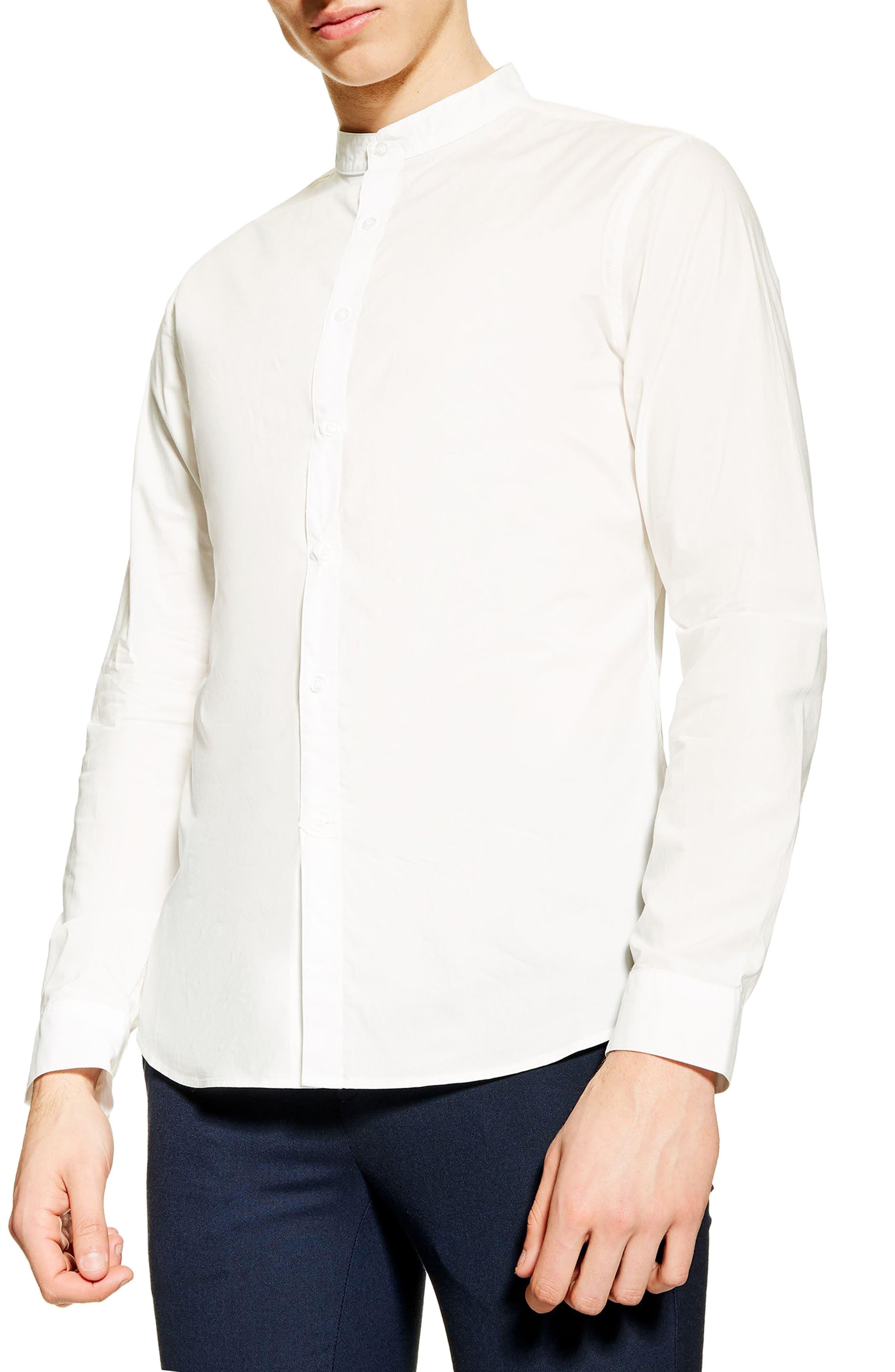 1920s Men's Dress Shirts Mens Topman Grandad Slim Poplin Shirt $32.98 AT vintagedancer.com