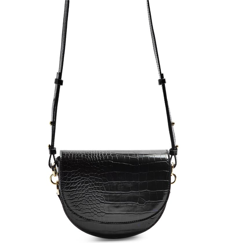 TOPSHOP Coby Faux Leather Saddle Crossbody Bag, Main, color, 001