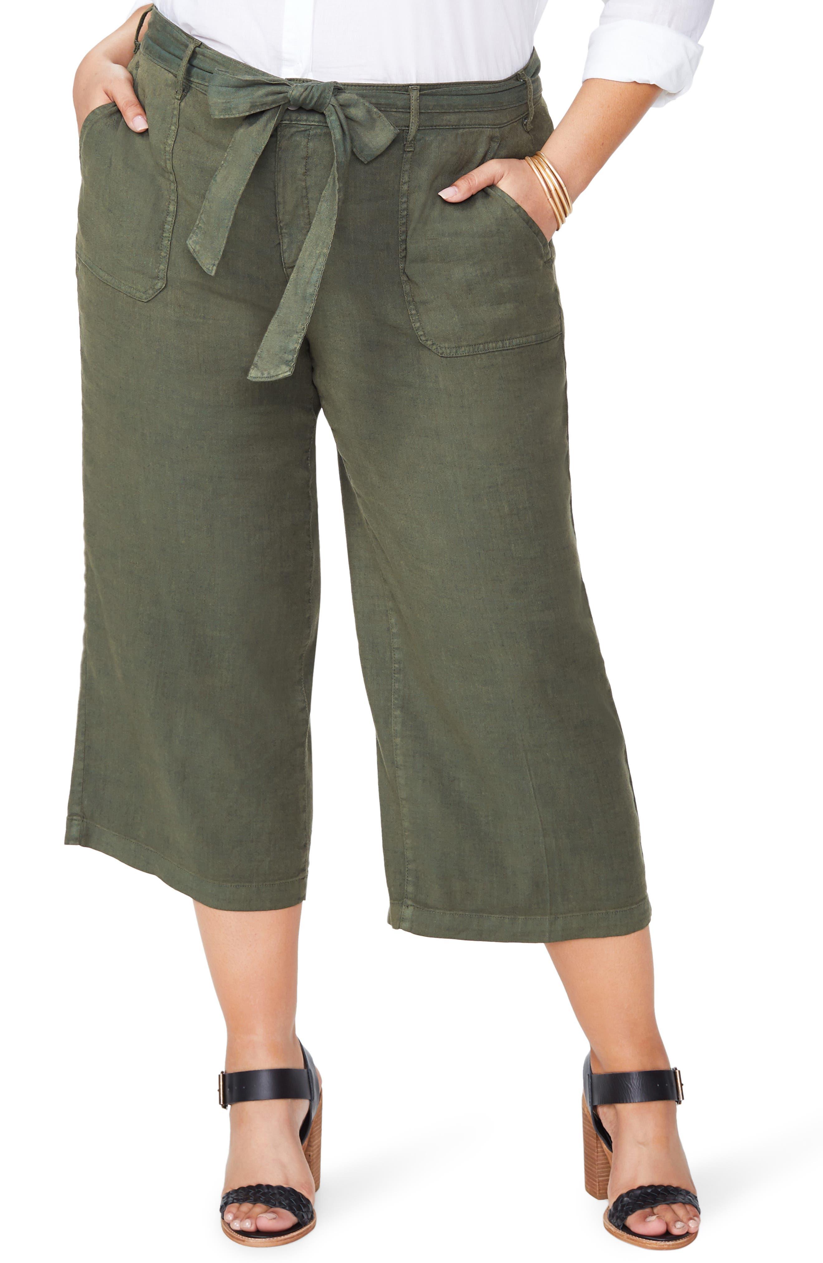 Plus Size Nydj Fashion Cargo Capri Pants, Green