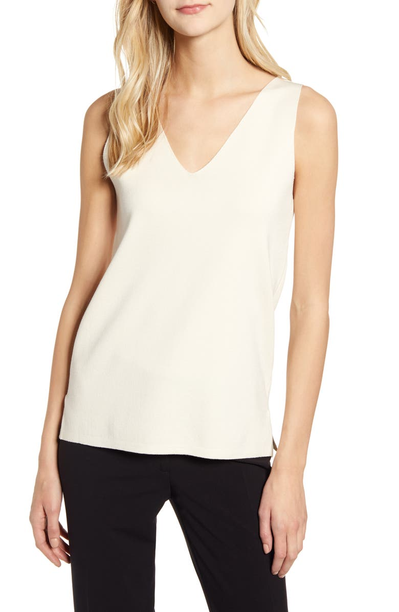 ANNE KLEIN Double V-Neck Sweater Tank, Main, color, 100