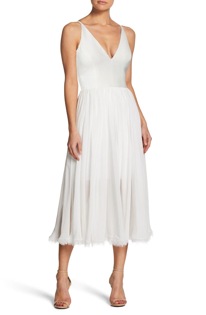 DRESS THE POPULATION Alicia Mixed Media Midi Dress, Main, color, OFF WHITE