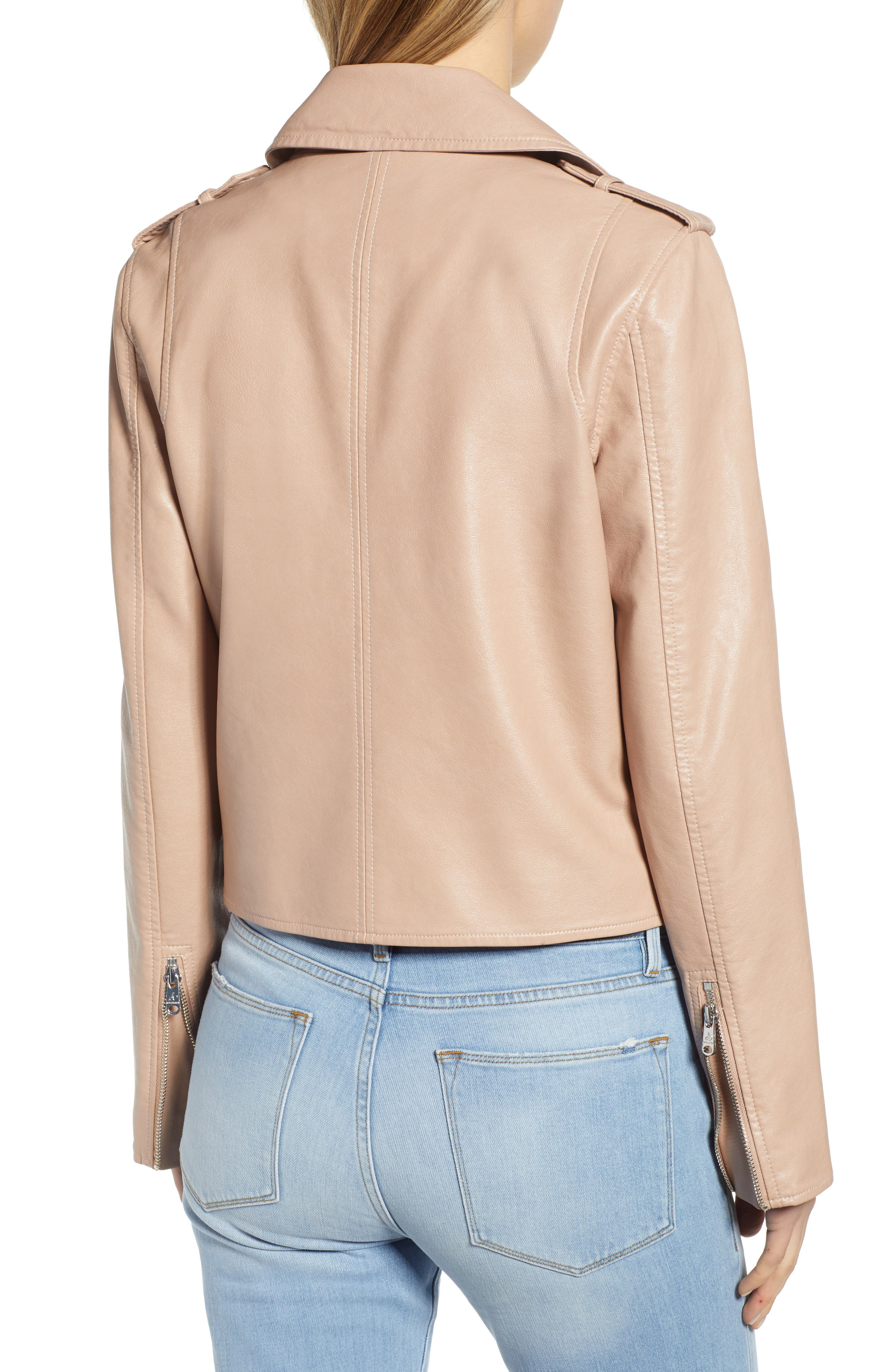 ,                             Washed Faux Leather Moto Jacket,                             Alternate thumbnail 2, color,                             NUDE