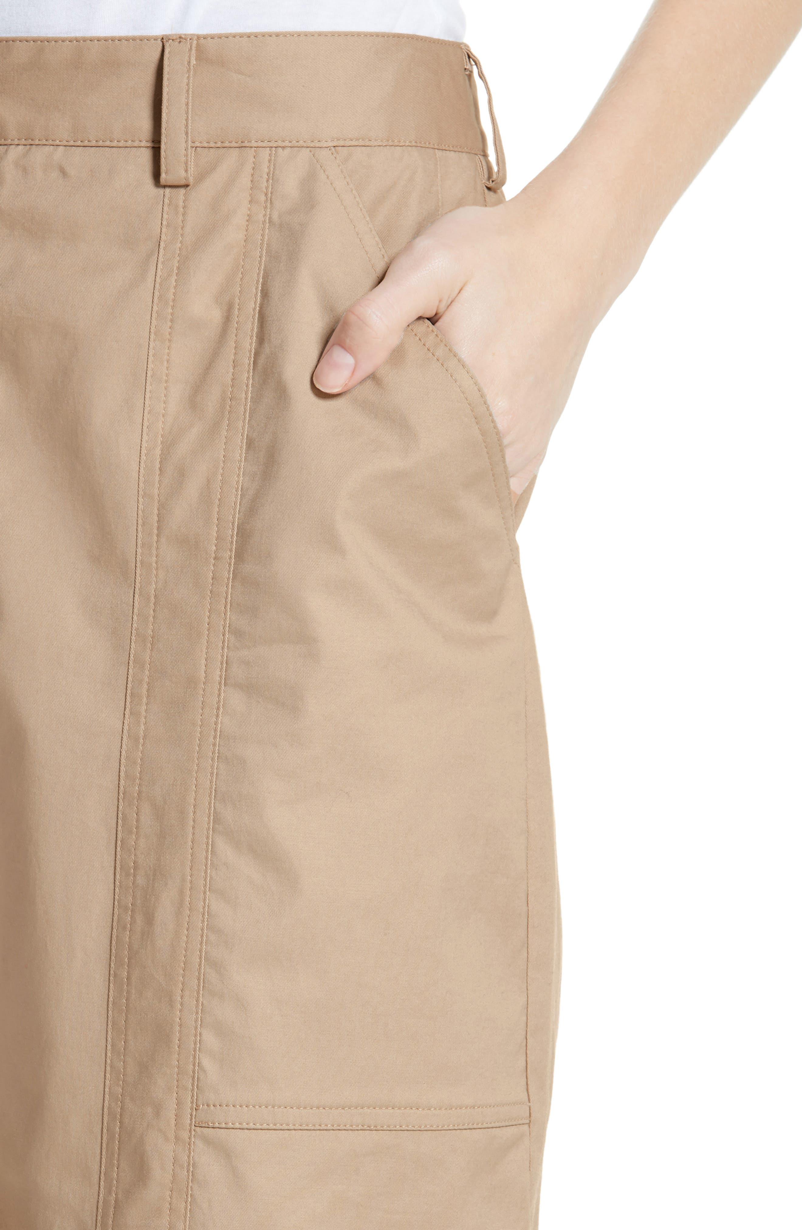 ,                             GREY Jason Wu Stretch Twill Straight Leg Pants,                             Alternate thumbnail 5, color,                             FLAXEN