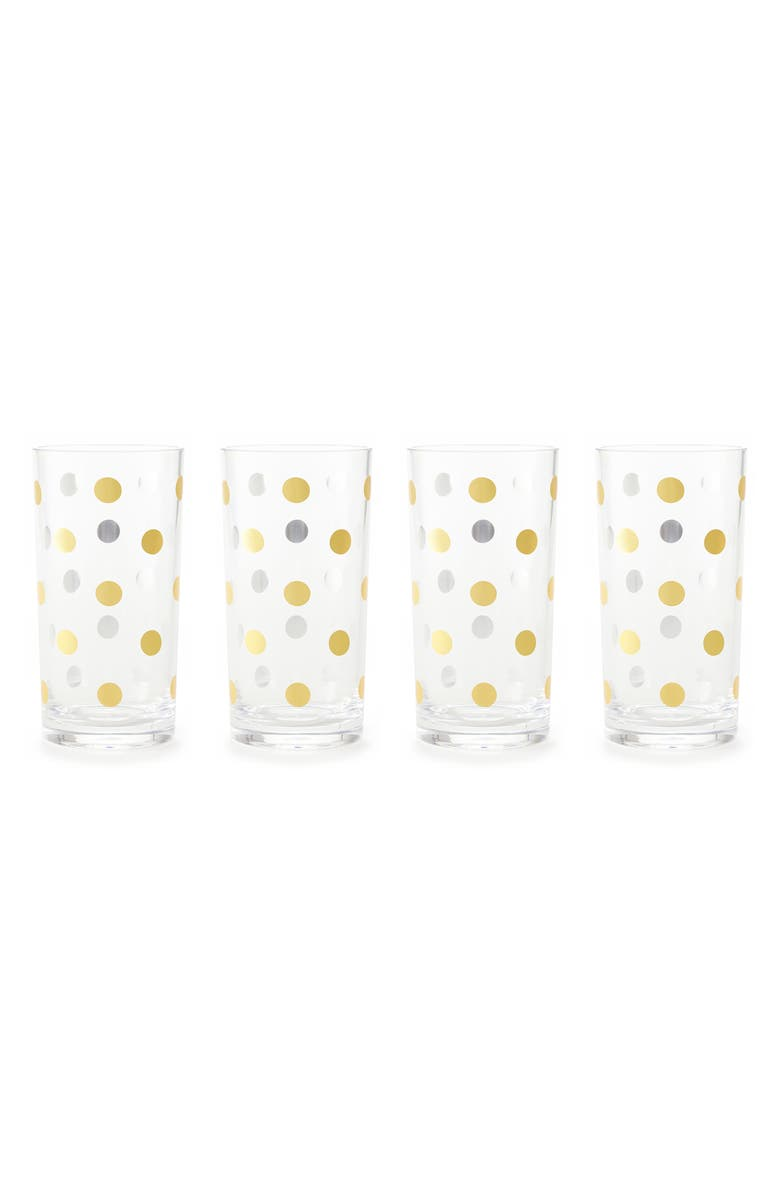 KATE SPADE NEW YORK gold dot set of 4 highball glasses, Main, color, 710
