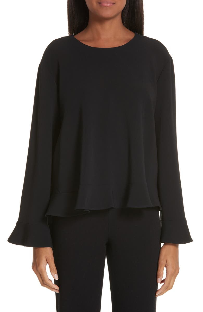 STELLA MCCARTNEY Flutter Sleeve Cady Blouse, Main, color, 001