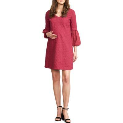 Maternal America Bubble Sleeve Maternity Shift Dress, Purple