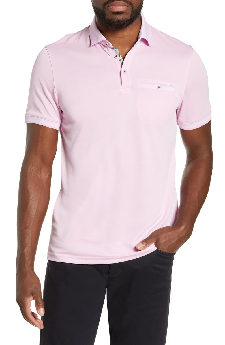 TED BAKER LONDON Frog Slim Fit Piqué Polo, Main, color, PINK
