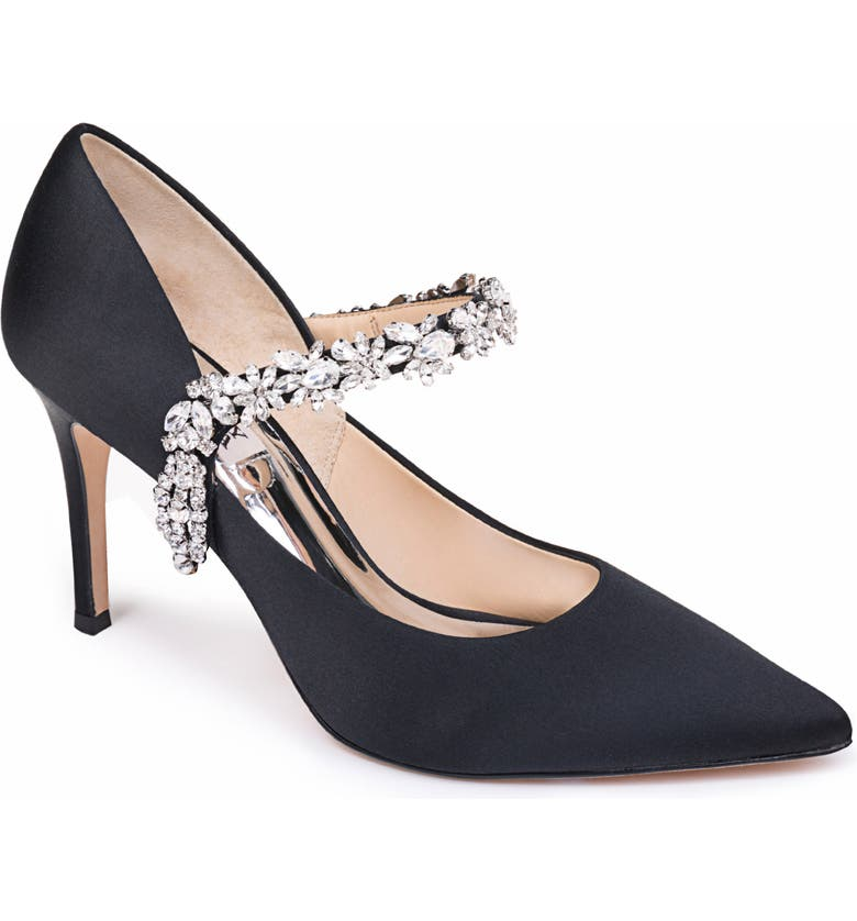 BADGLEY MISCHKA COLLECTION Badgley Mischka Esperanza Embellished Pump, Main, color, BLACK SATIN