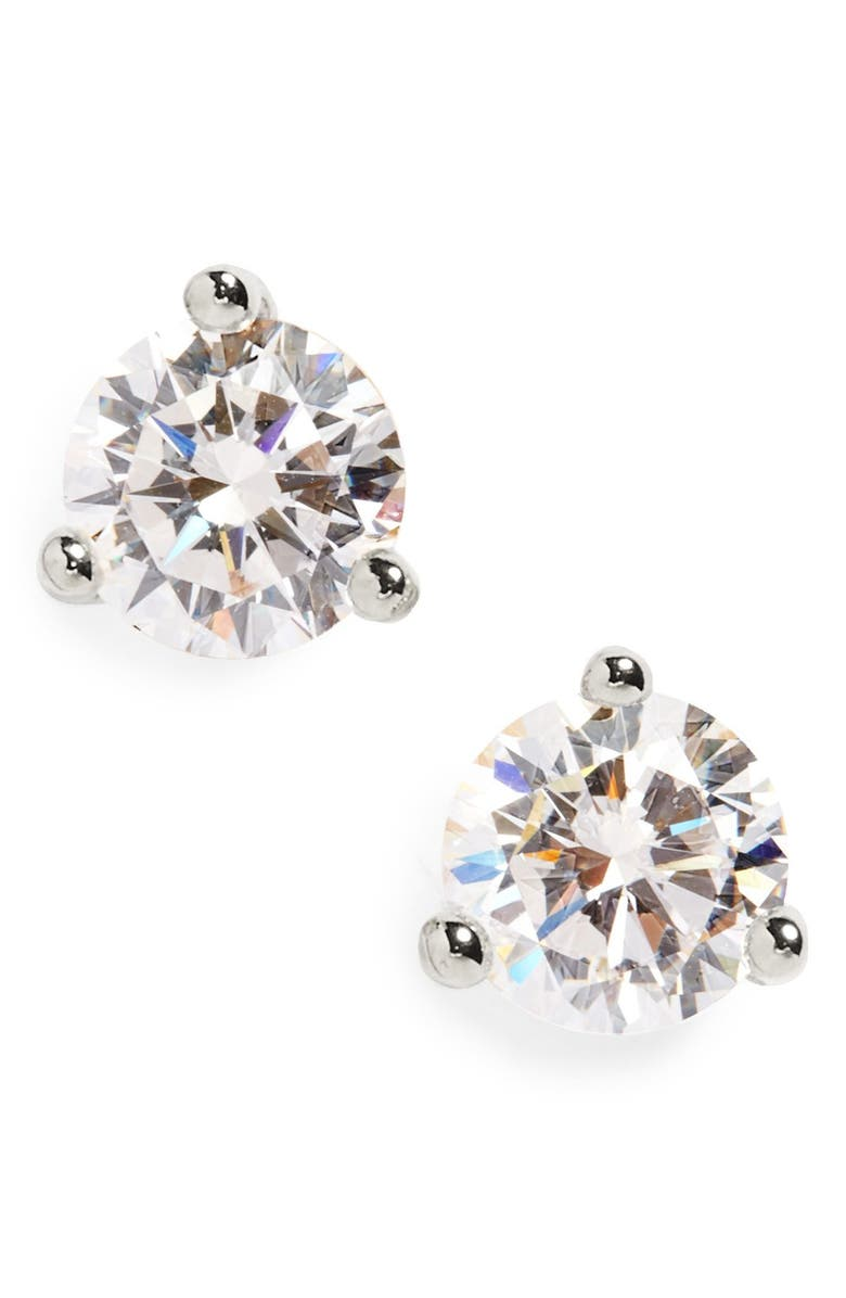 NORDSTROM Round Cubic Zirconia Earrings, Main, color, PLATINUM