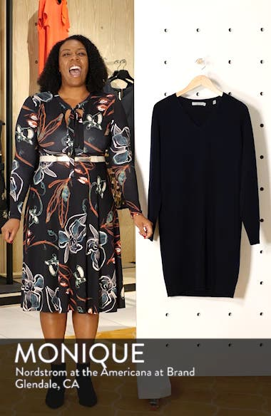 Deep V-Neck Sweater Dress, sales video thumbnail