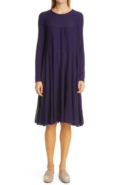 Merlette Addison Rib Detail Long Sleeve Dress In Marine