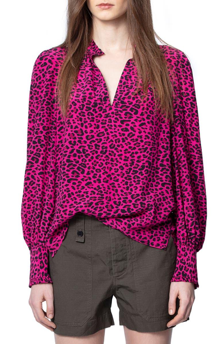 ZADIG & VOLTAIRE Titus Leopard Print Blouse, Main, color, FRAMBOISE