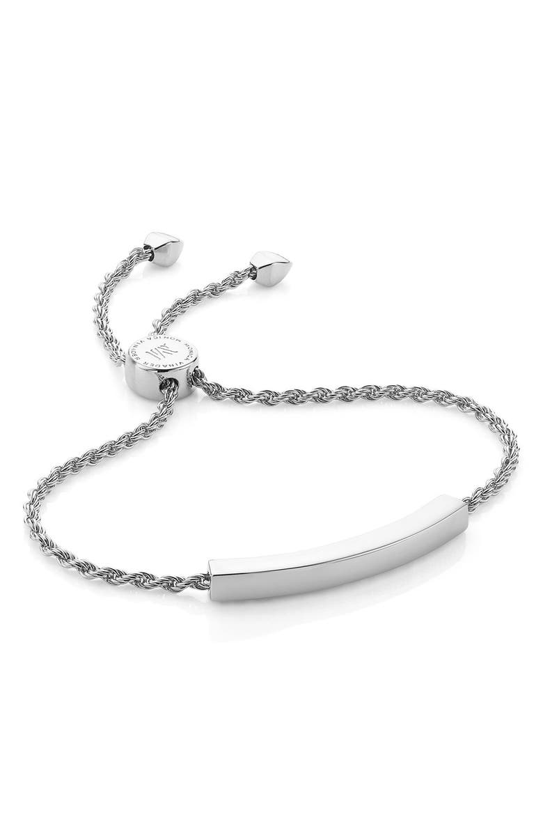 MONICA VINADER Engravable Linear Friendship Chain Bracelet, Main, color, SILVER