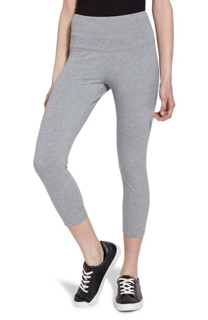 Lyssé Medium Control Flattering Cropped Cotton Leggings In Grey Melange