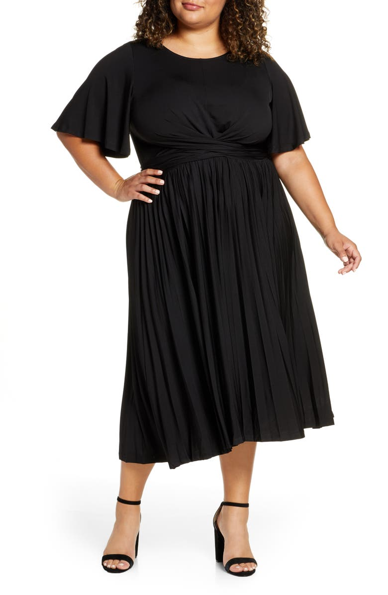 ELOQUII Wrap Waist Jersey Midi Dress, Main, color, BLACK