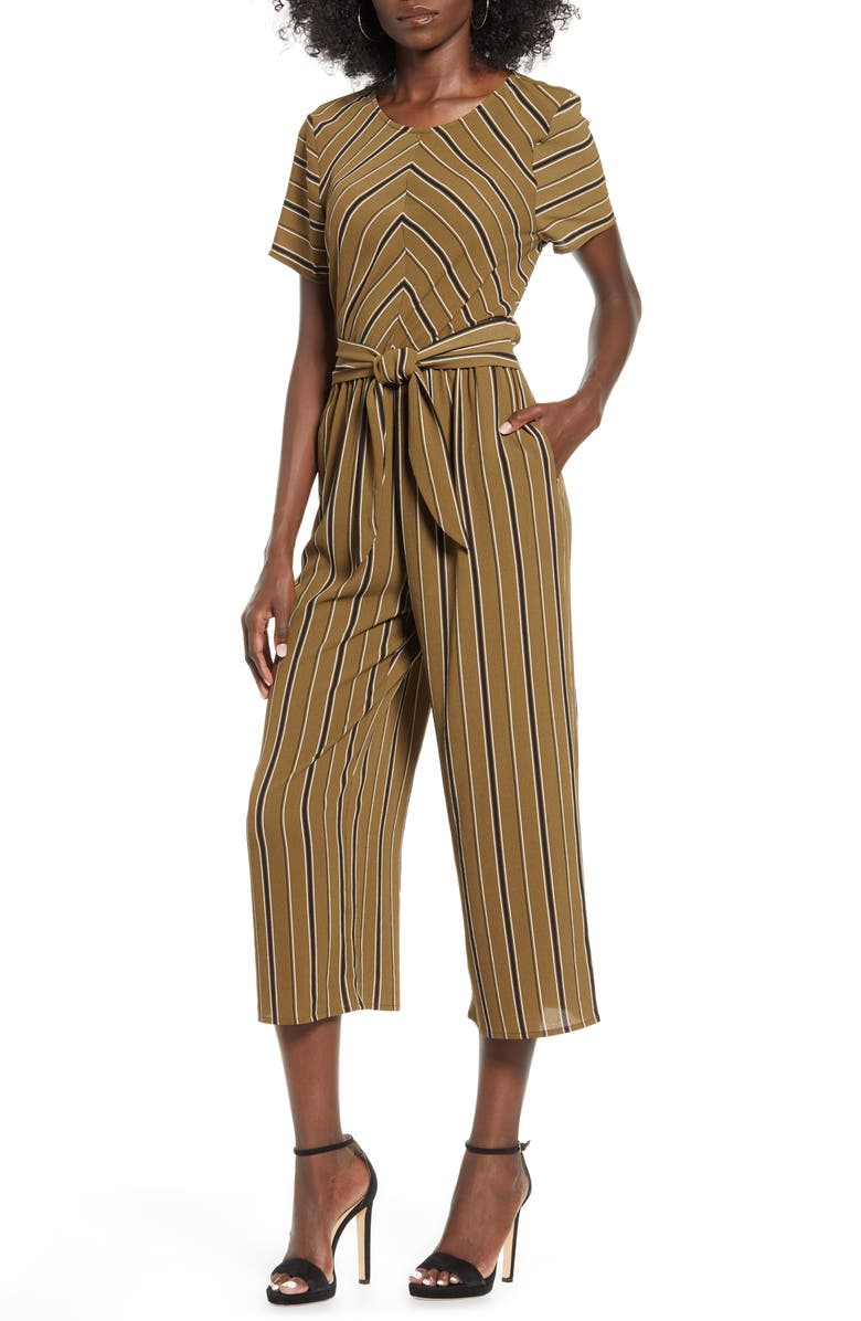 SPEECHLESS Bubble Crepe Stripe Jumpsuit, Main, color, OLIVE BLACK