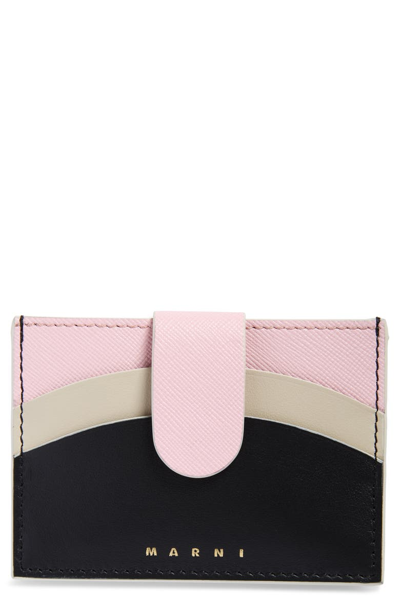 MARNI Law Leather Card Holder, Main, color, CINDER ROSE/ BLACK/ ANTIQUE