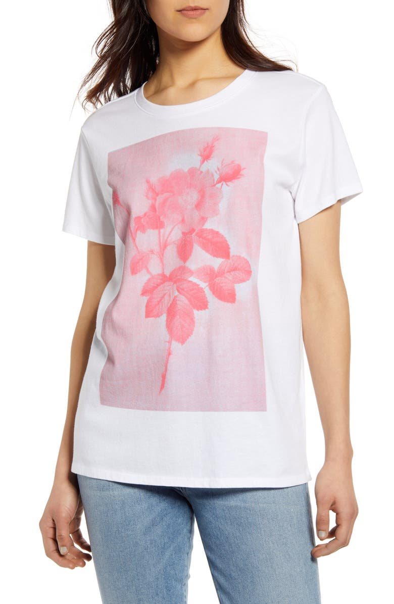 LUCKY BRAND Monochrome Rose Graphic Cotton Tee, Main, color, 110