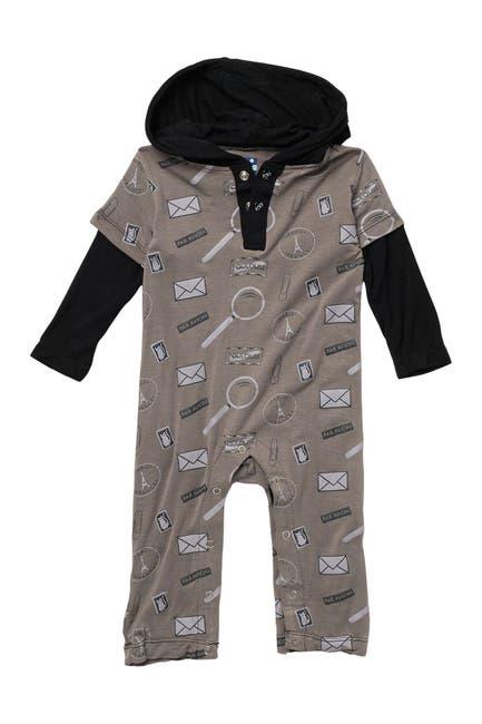 Image of KicKee Pants Printed Long Sleeve Hoodie Romper