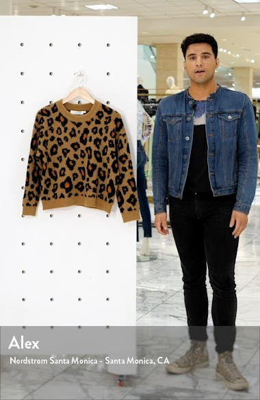 Tobin Intarsia Leopard Crewneck Sweater, sales video thumbnail