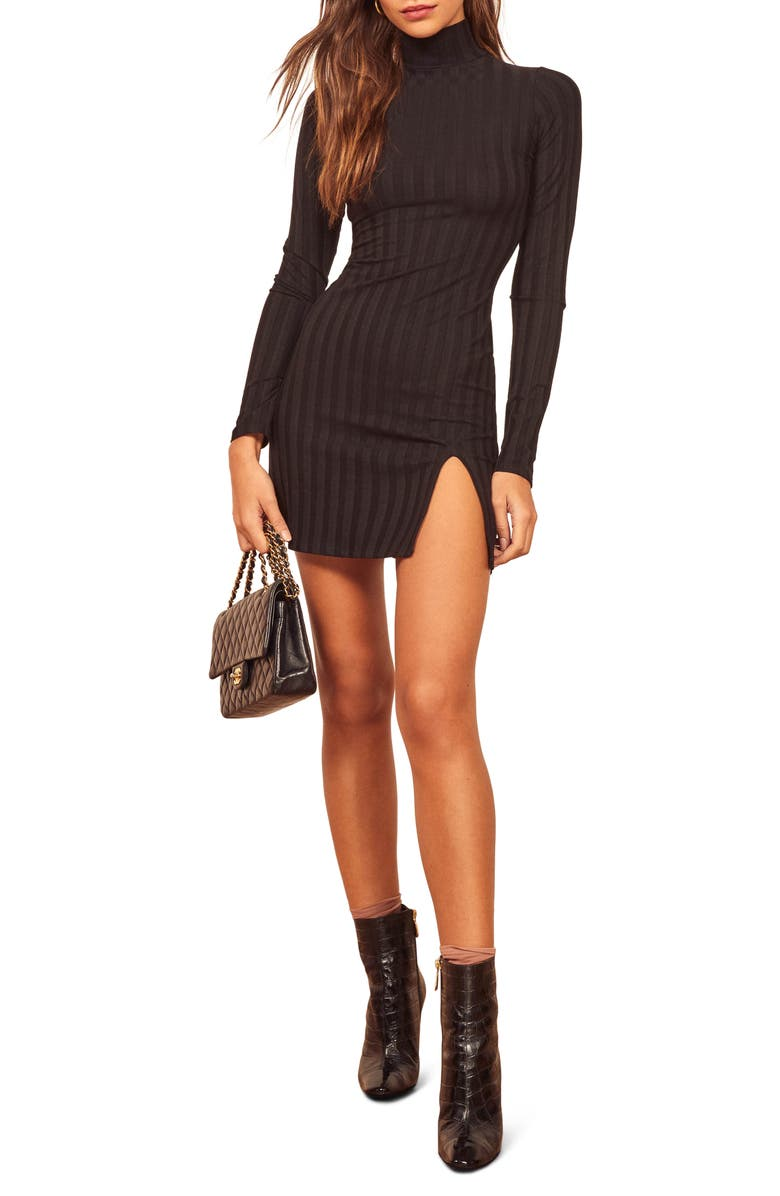 REFORMATION Libra Long Sleeve Minidress, Main, color, BLACK