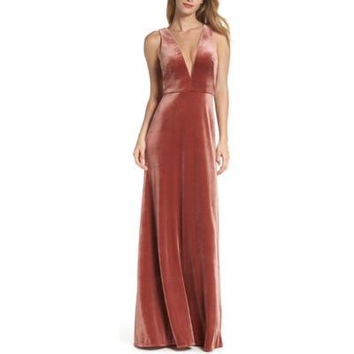 Jenny Yoo Logan Plunging V-Neck Velvet Gown, Pink