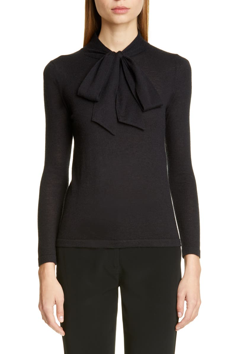 CO Essentials Tie Neck Cashmere Sweater, Main, color, BLACK