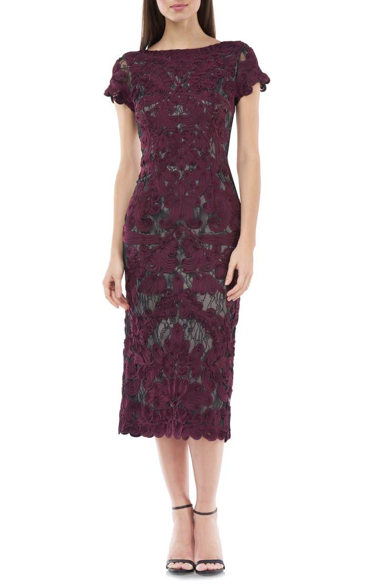 JS COLLECTIONS Soutache Lace Midi Dress, Main, color, RAISIN BLACK