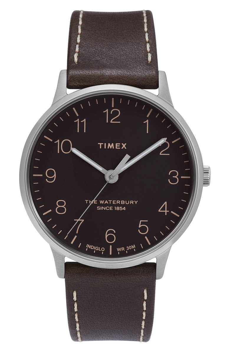 TIMEX<SUP>®</SUP> Waterbury Leather Strap Watch, 40mm, Main, color, BROWN/ BLACK/ SILVER