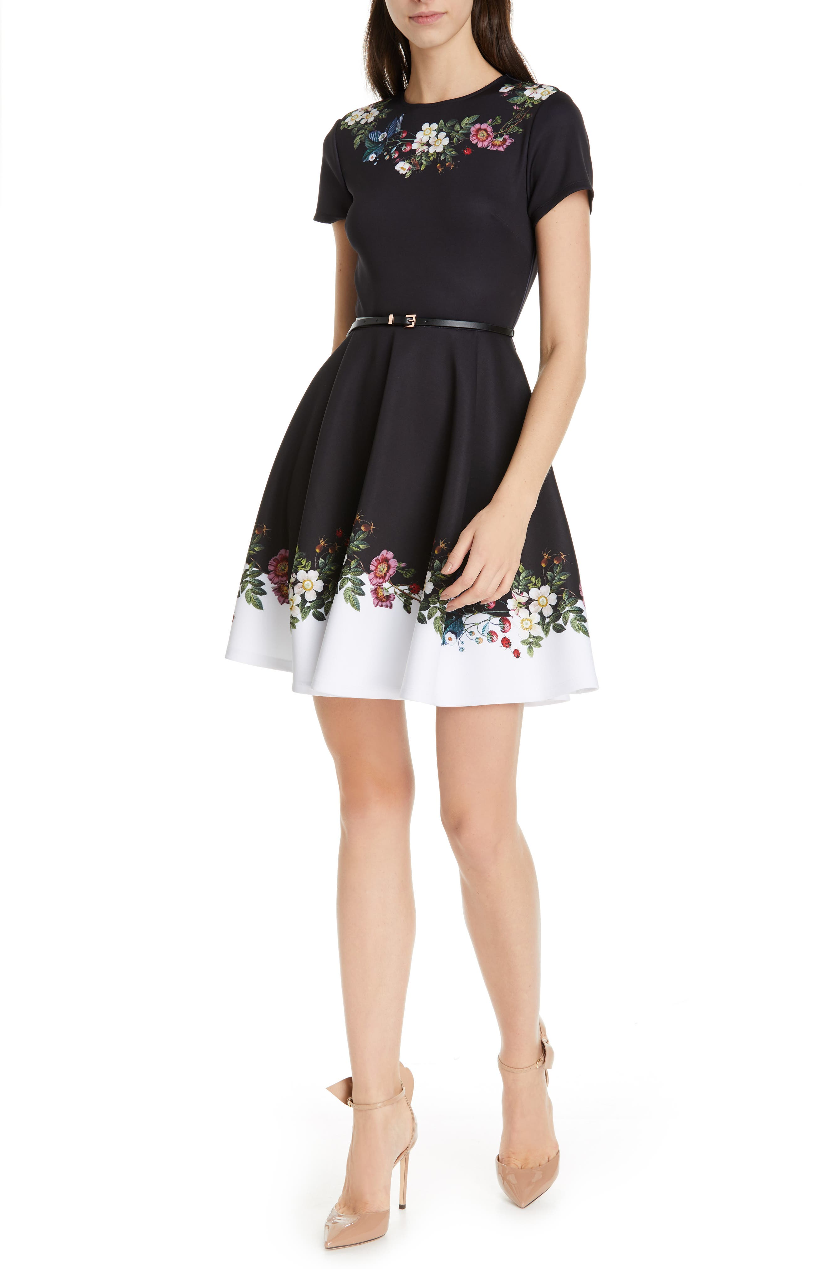 Ted Baker London Chestna Oracle Skater Dress, Black