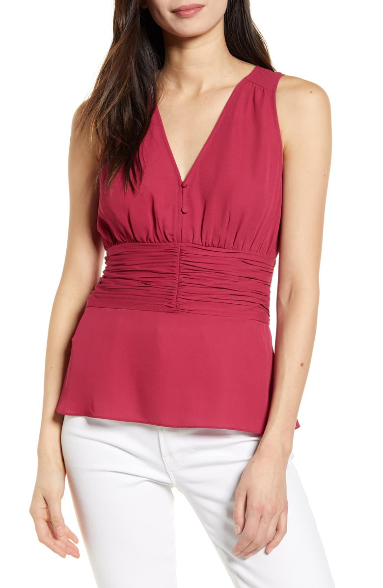 CHELSEA28 Sleeveless Ruched Top, Main, color, 938