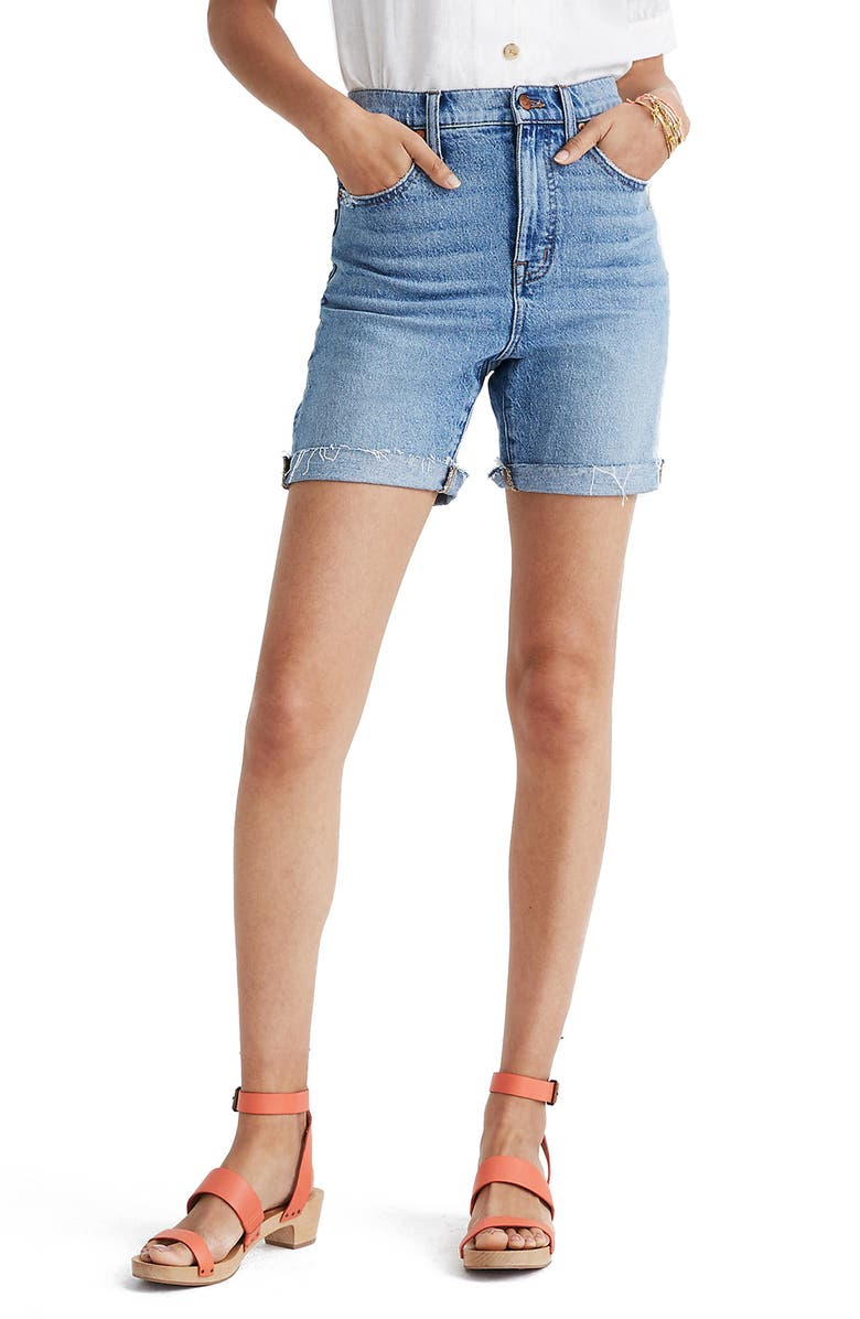MADEWELL Tencel<sup>®</sup> Lyocell Edition High Waist Mid-Length Denim Shorts, Main, color, LAWNDALE