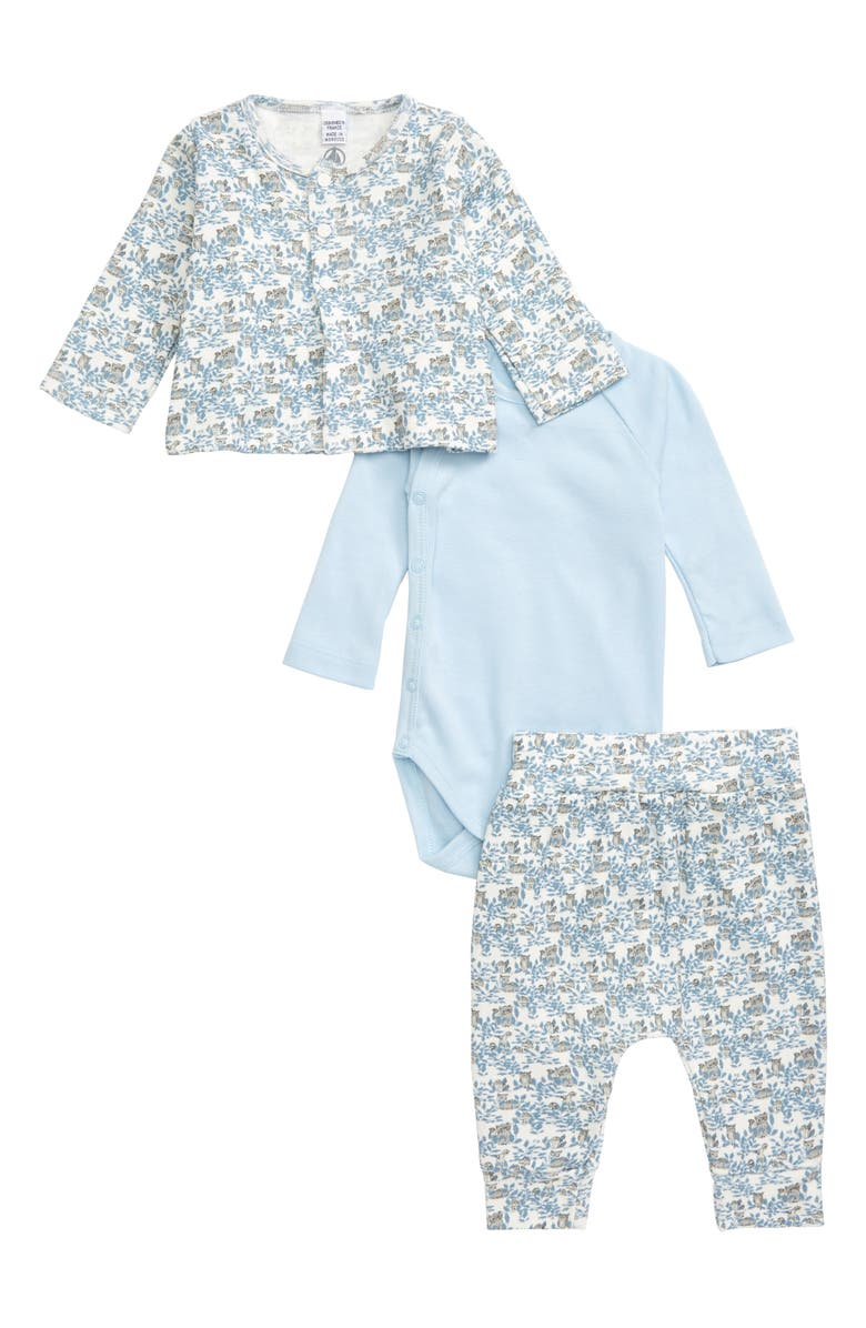 PETIT BATEAU Organic Cotton Cardigan, Bodysuit & Sweatpants Set, Main, color, 400