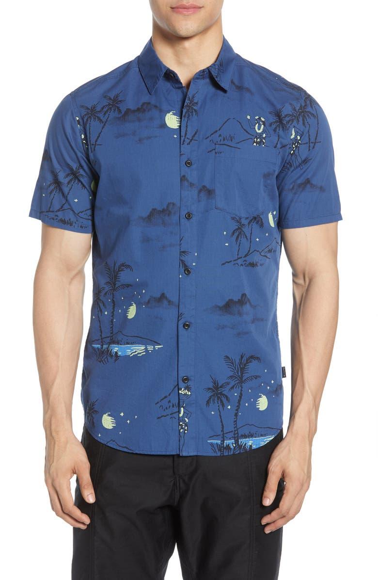 HURLEY Hula Ditsy Short Sleeve Button-Up Shirt, Main, color, 408