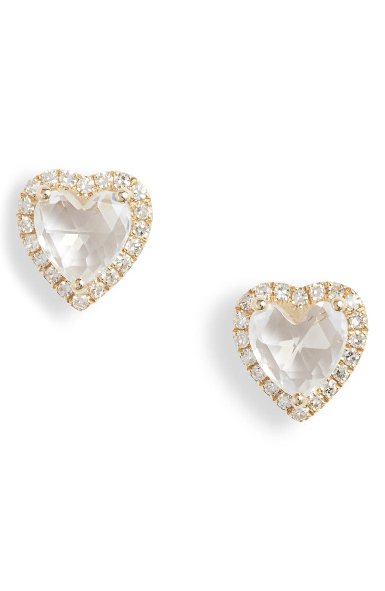 EF COLLECTION Diamond & Topaz Heart Stud Earrings, Main, color, YELLOW GOLD/ WHITE TOPAZ