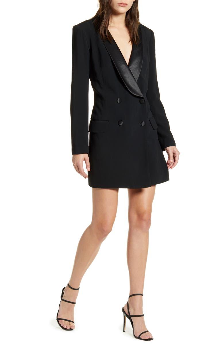 REBECCA MINKOFF Archie Blazer Dress, Main, color, BLACK